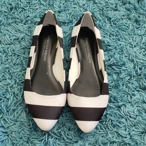 Black and white pointed toe striped flats.